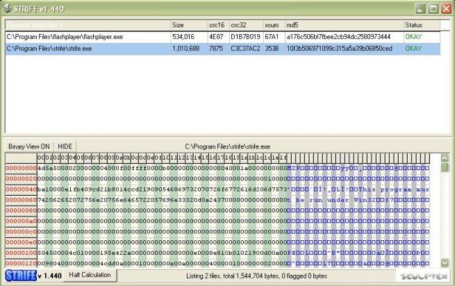 File hash explorer / hex viewer (STRIFE) – Sculptex